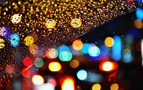 lights, bokeh, macro, drops, night
