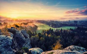 деревья, небо, скалы, туман, природа, Долина