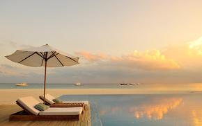 ocean, swimming pool, nature, sunset