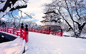 city, snow, winter, Japan