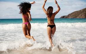 beach, models, sea, butts, waves