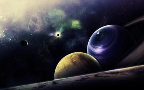 planets, nebula, stars, space, art