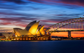 Australia, bridge, cities, evening, lights