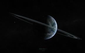 satellite, space, rings, stars, planet
