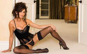black lingerie, door, girls, thigh-highs, room