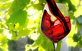 macro, wineglass, grapes, leaves, wine