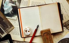 фотографии, блокнот, винтаж, Vintage, ручка, сепия