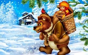 girlie, snow, bear