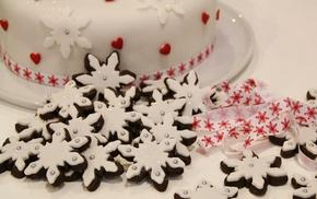 white, delicious, Christmas, food, snowflakes