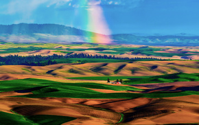 rainbow, sky, nature, hills, valley