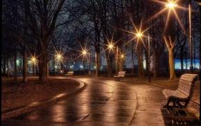 park, cities, evening
