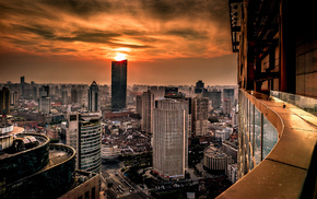 China, panorama, sunset, cities