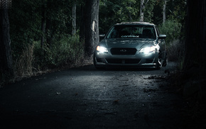 Subaru, road, cars, forest, light