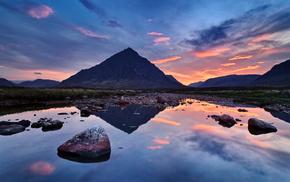 reflection, sky, stones, nature, sunset