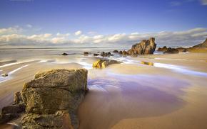 beach, clouds, rocks, sand, sky