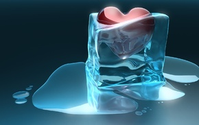 ice, colors, 3D, heart