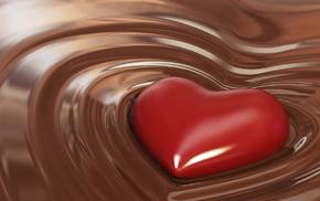 chocolate, love, heart, 3D