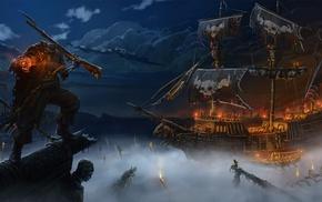 корабль, арт, Andrej Horoschun, море, фэнтези, ружье