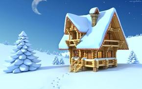 snow, moon, Christmas tree, lodge, winter