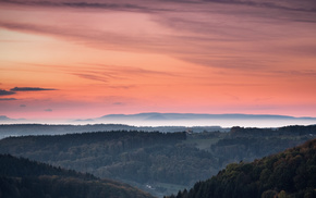 evening, sky, hills, sunset, nature