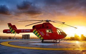 высота, вертолет, закат, авиация