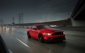 headlights, red, light, rain, cars