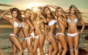girls, models, Sun, sea