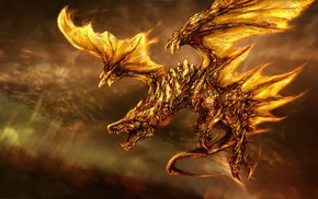 fire, wings, dragon, fantasy