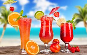 коктейли, лед, фрукты, цитрусы, бокалы, вкусно