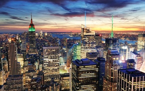 high-rise buildings, cities, New York City, skyscrapers, houses