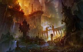 statue, war, artwork, fantasy art, city
