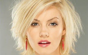 Elisha Cuthbert, open mouth, portrait, earrings, blue eyes, blonde