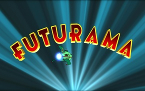 typography, spaceship, TV, Futurama