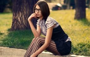 girl, girl outdoors, brunette, model, glasses