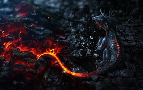 art, dragon, fantasy, fire