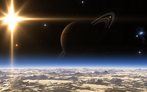 planet, space, rings, star