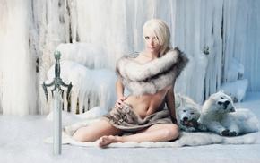 face, warrior, girl, sword, fantasy