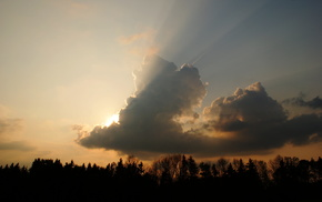 sunset, rays, evening, clouds, nature