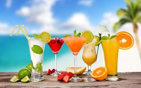 зонтики, Cocktails, пина колада, бокалы, коктейли, мохито