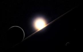planets, horizon, stars, space, dawn