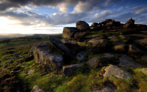 grassland, sky, stunner, rocks