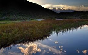 clouds, nature, sunset, evening, river