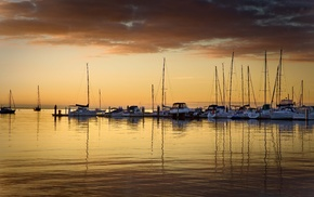 nature, berth, sunset, evening, sea