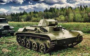 gun, tank, forest, drawing