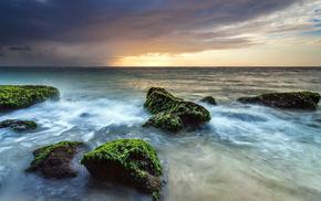 sunset, sea, stunner, rocks