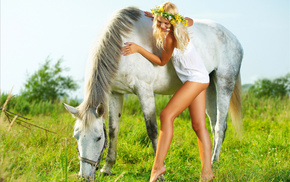 grass, horse, girls, sky, joy