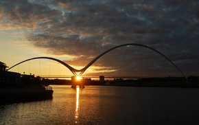river, bridge, sunset, Sun, nature