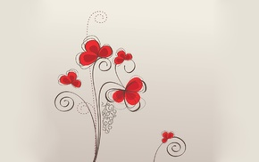 texture, background, flowers, patterns, red