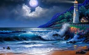 lighthouse, stunner, moon, sea, night