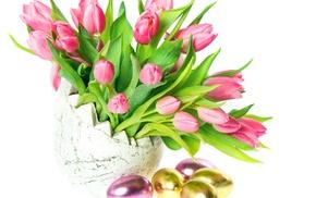 vase, tulips